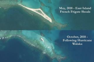 East Island, Hawaii before and after Hurricane Walaka.