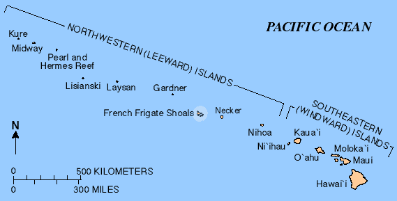 Map of French Frigate Shoals, Hawaii.