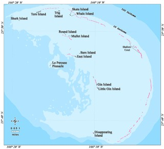 Closer map of the French Frigate Shoals, Hawaii.
