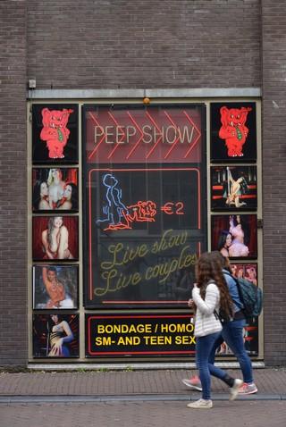 Schaufenster einer Peep-Show in Amsterdam