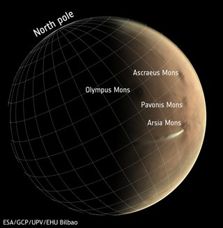 Map of Arsia Mons with cloud.