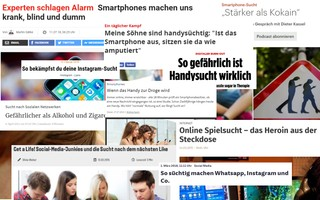 Screenshot von Schlagzeilen über Social-Media-Sucht und ähnliche mutmaßliche Süchte