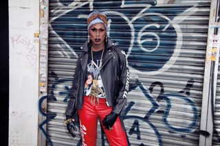 rock and roll drag queen in leather jacket