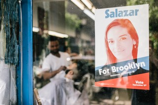 A campaign flyer for Julia Salazar in Brooklyn