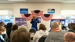 Benson speaks at a meet and greet in Macomb County, Michigan