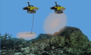A rendering of how the LarvalBot will disperse coral larvae over damaged parts of the Great Barrier Reef.