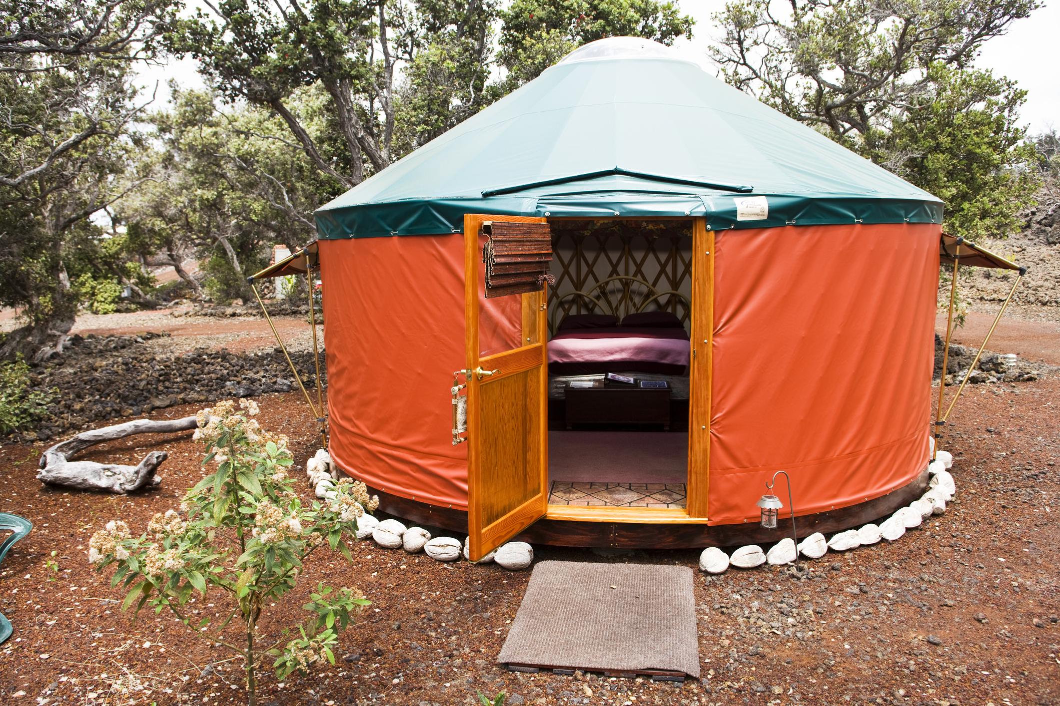 Yurt living on the Big Island in Hawaii.