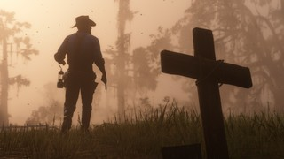 A plain and crude wooden cross rises from the short grass of a forest clearing marking yet another grave that is being left in the wake of this cowboy who stands, a lanter in one hand and a six-shooter in the other, about to move on through the gathering twilight that has cast the scene in an eerie sepia glow.