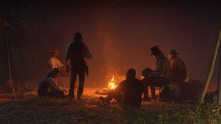 A gang out outlaws gathered around the warm orange glow of a campfire