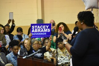 Stacey Abrams addresses a crowd.