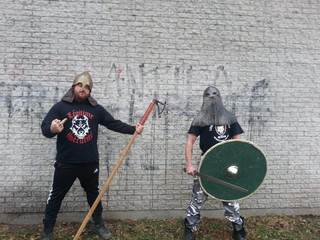 On a photo published on the Facebook page of the skinhead group Légitime Violence, Nicolas Bergeron, dressed in Viking, with a t-shirt of the