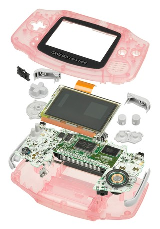 An exploded view of a Gameboy Advance