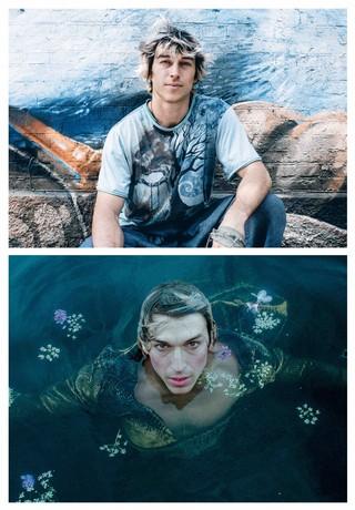 To billeder: Josh sidder i skater t-short foran en mur. Josh ligger i vandet omgivet af blomster og iført makeup