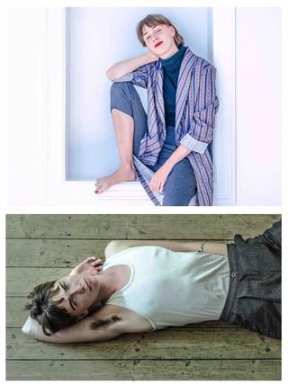 To billeder af Karoline, et hvor hun sidder i lyserød skjorte og læbestift, et hvor hun slænger sig i tanktop og hår under armene