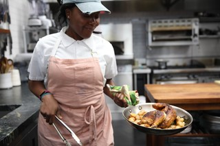 Ashley Eddie with roast chicken and potatoes