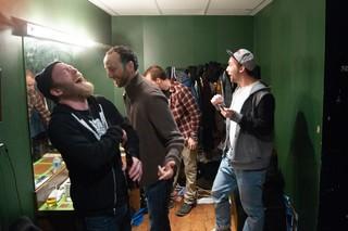Kyle Kinane (left) in the green room, 2011