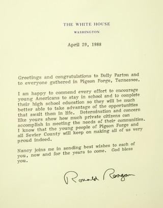 pismo Ronalda Regana upućeno Doli Parton