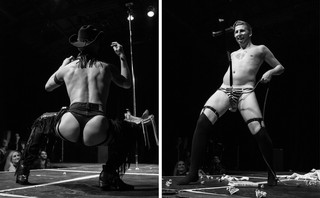 a split image showing two male strippers