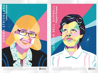 Donna Strickland, left, and Jocelyn Bell Burnell posters