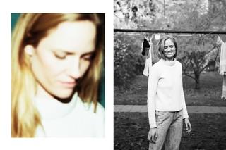 To billeder: Et close op af Julie, der kigger ned, og et af Julie, der står i baggården og smiler