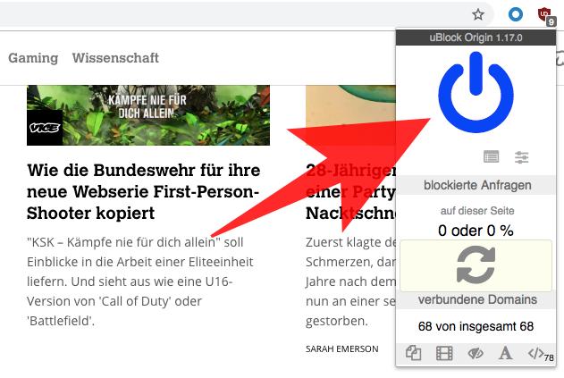 Screenshot: Links sieht man einen Teil der Vice-Website, rechts den Blauen Button von uBlock Origin, mit dem ihr die Seite zur Whitelist hinzufügen könnt.