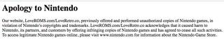 Entschuldigung an Nintendo