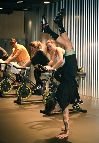 Cyclists working up a sweat at the Alice Potts exhibition.