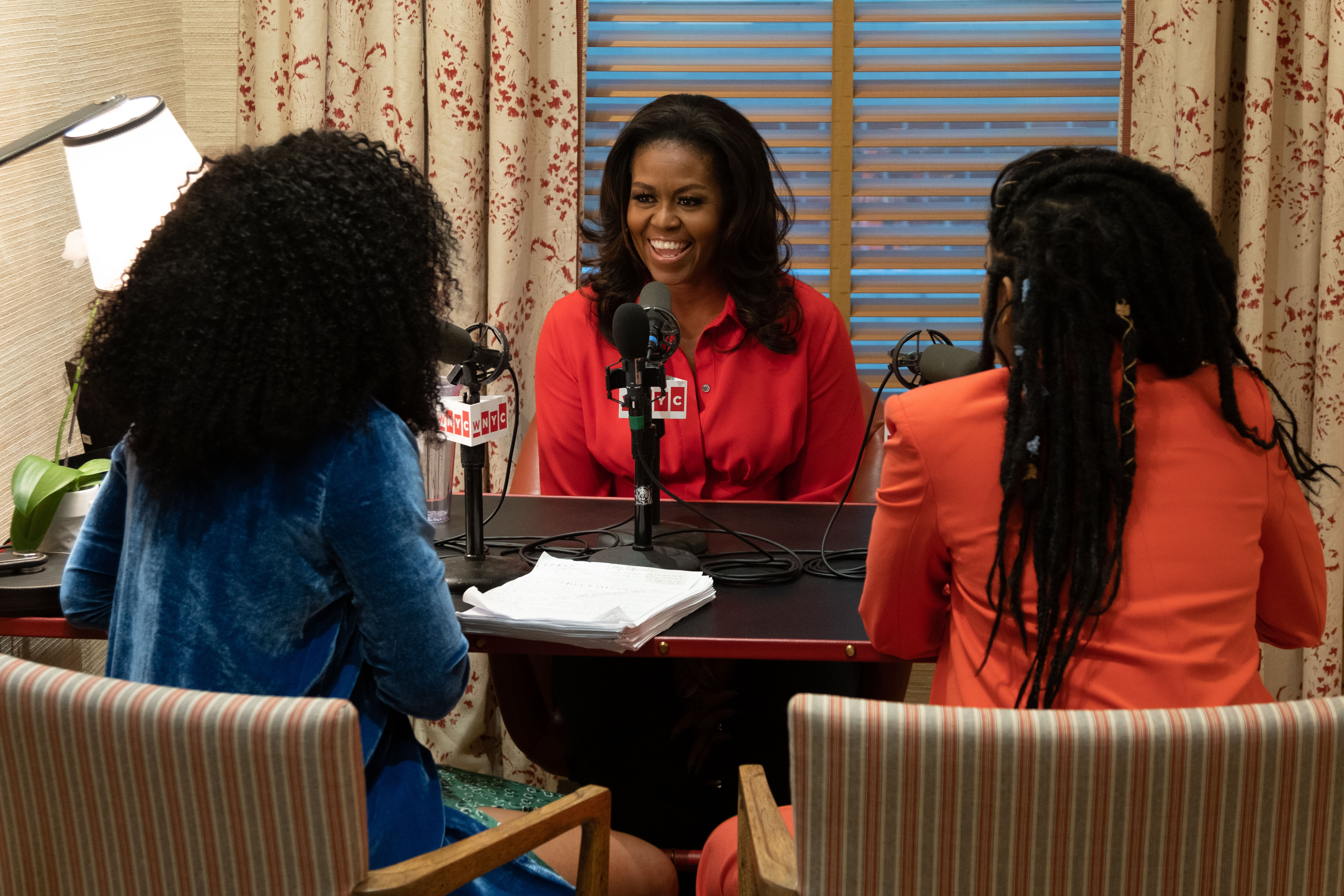 Phoebe Robinson and Jessica Williams with former First Lady Michelle Obama.