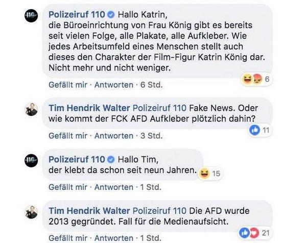 Das Social Media-Team des Polizeiruf reagiert auf Facebook.