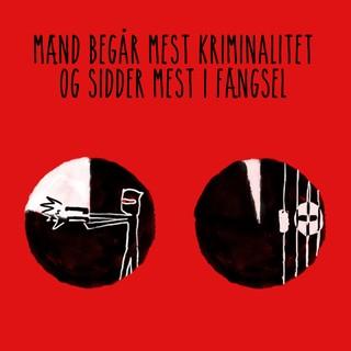 Billede med teksten: Mænd begår mest kriminalitet og sidder mest i fængsel