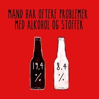 Billede med teksten: Mænd har oftere problemer med alkohol og stoffer
