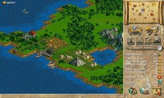 Eine Insel in Anno 1602. Zu sehen ist eine Anlegestelle, Gebäude und eine Pyramide im Urwald