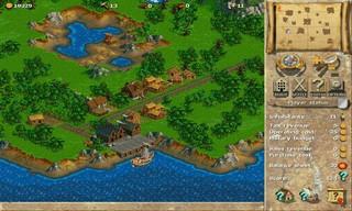 Ein Screenshot aus Anno 1602. Zu sehen ist eine Siedlung im Anfangsstadium, es gibt nur Holzhütten.