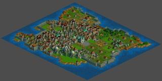 Ein Screenshot aus Christian Flachs Projekt 'Anno 2018': Der Bildausschnitt ist größer, die gesamte Insel ist sichtbar, die Häuser wirken höher aufgelöst