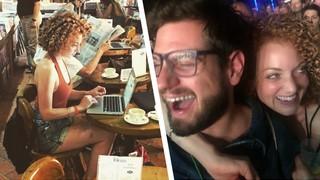Ein Diptych: Links sitzt die Autorin an einem Laptop, rechts hängt sie am Hals eines bärtigen Mannes.