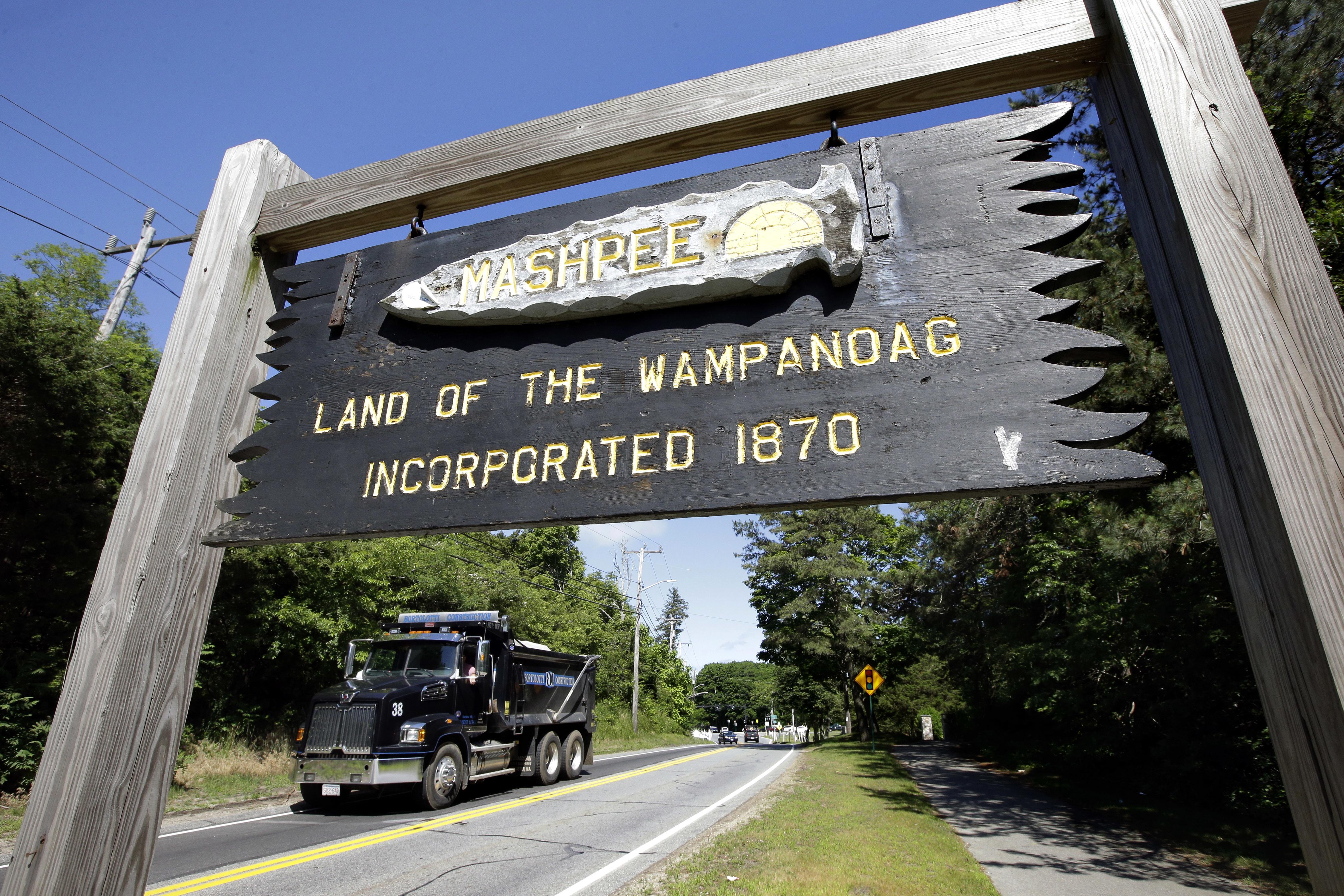 A sign marking the location of Mashpee Wampanoag land.