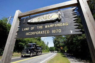 A sign marking the location of Mashpee Wampanoag land.