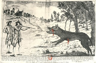An illustration of the beast being shot