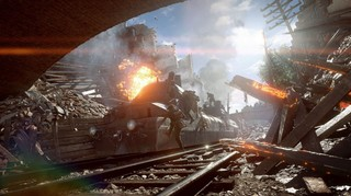 An armored train plunges ahead into a tunnel in Battlefield 1