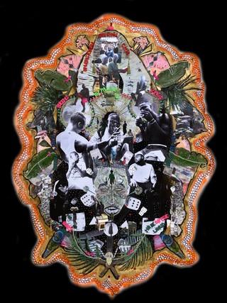 Raquel van Haver, A Shrine of a Deity: L'enyin ise aye Lo Ku, 2018. Foto van collage, diasec. Met dank aan de kunstenaar. Foto: Hans Wilschut