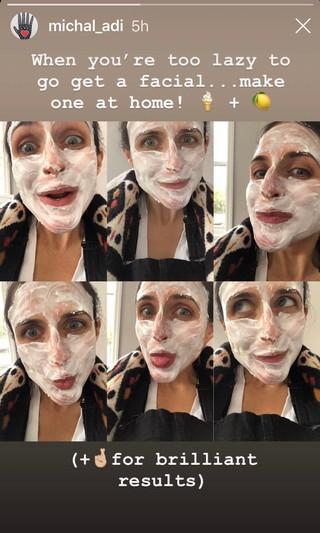 Michal Shamli shows off her yogurt lemon face scrub.