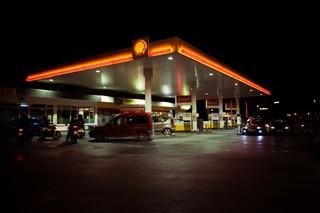 en Shell-tank i mørke