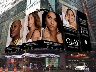 an olay campaign in times square