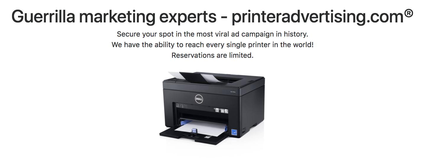 Mass printer hijacking service