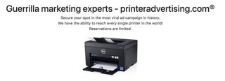 Mass printer hijacking service
