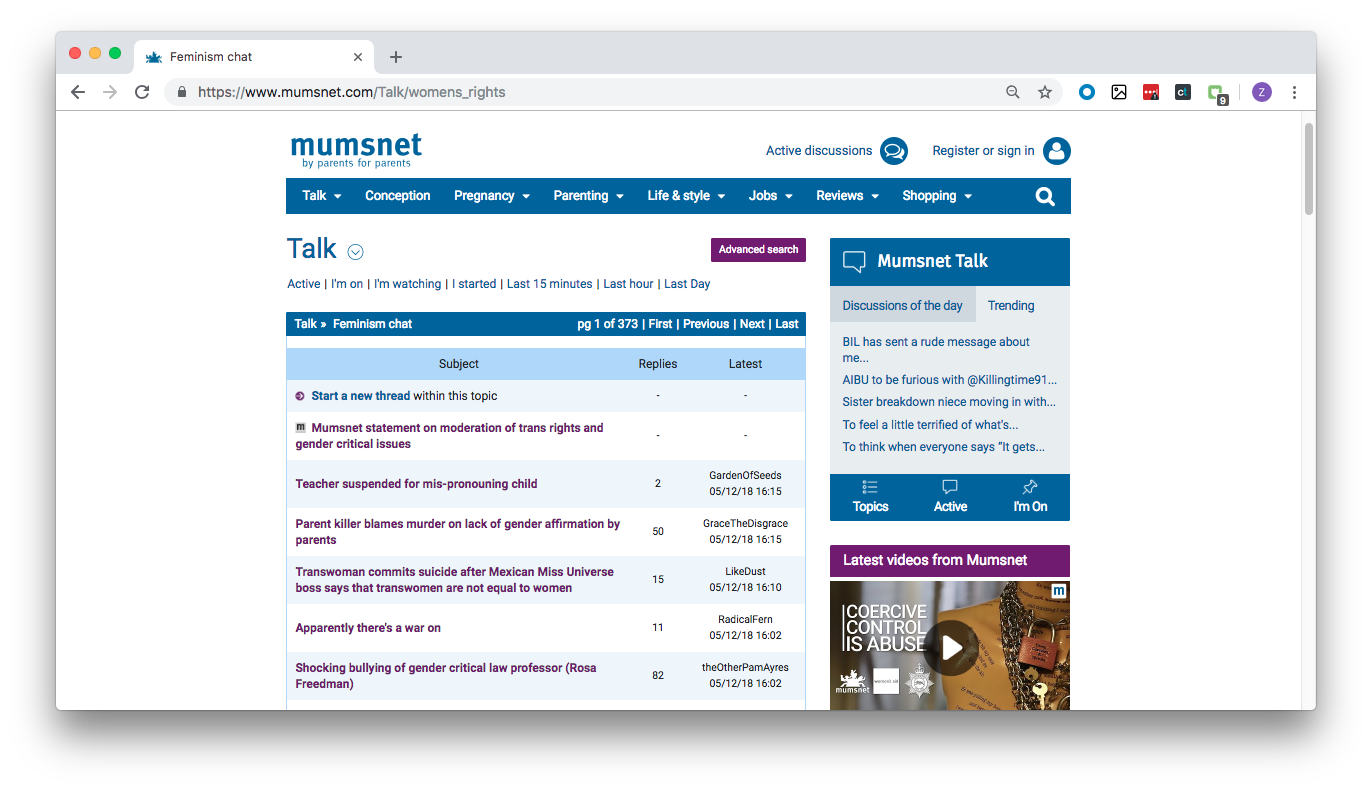 Mumsnet: The UK Forum for Moms Where Feminism Can Mean Transphobia