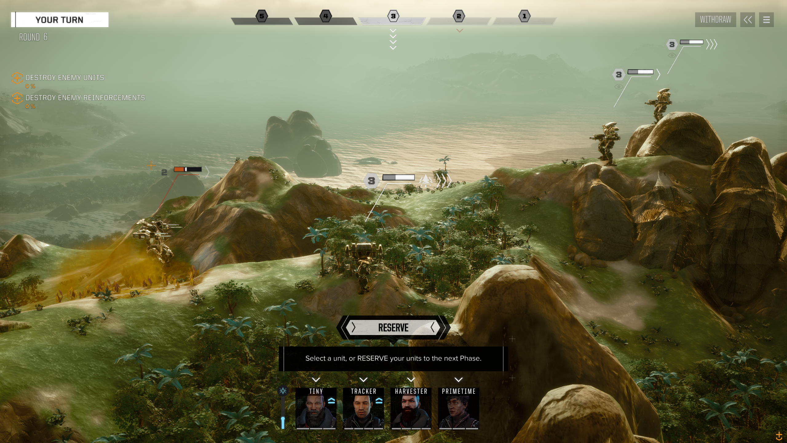 A group of combat BattleMechs do battle atop a beautiful tropical mountain ridge overlooking an overcast ocean at sunset.,