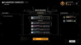 A mission reward screen showing rare components being delivered