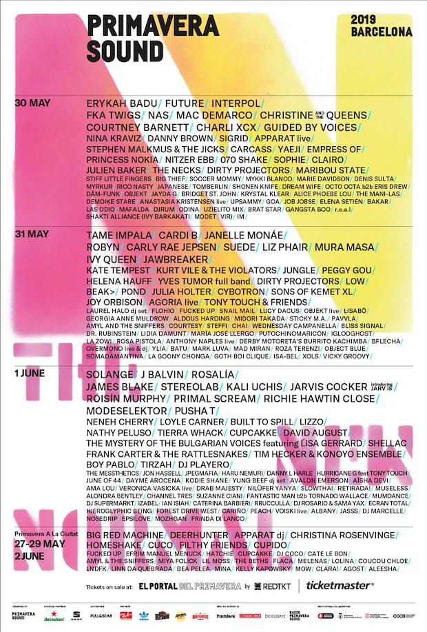 line up primavera sound 2019 barcelona