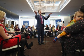 Then-Deputy Prime Minister Nick Clegg participates in a Q&A session with a group of women from the internet forum Mumsnet